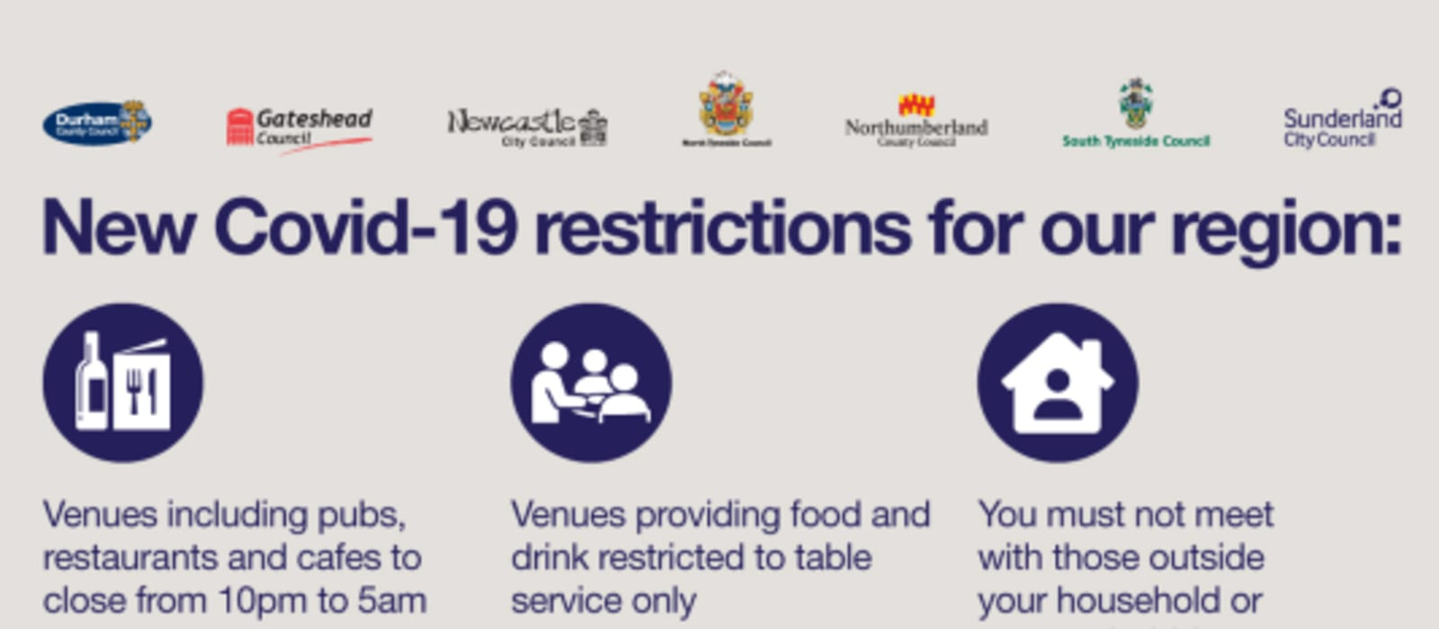 New Covid-19 restrictions in force for the North East