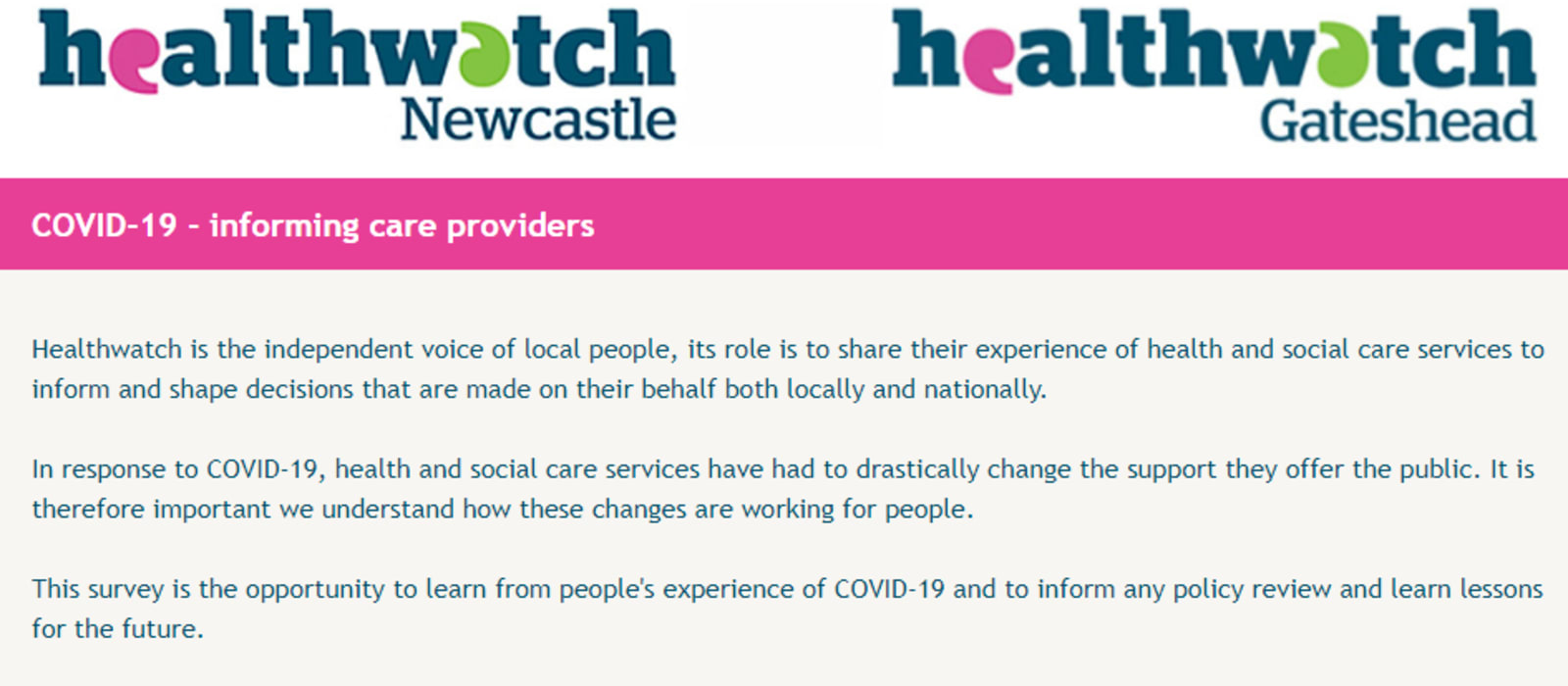 Healthwatch Survey seeks your experiences during Covid-19